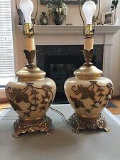 Vtg Pr Lg Hollywood Regency Mid Century Falkenstein Lamps 3 Way light Cream Gold