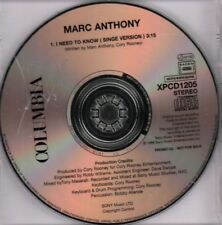Marc Anthony(Promo CD Single)I Need To Know-Columbia-XPCD1205-New