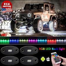 4 Pod White RGB Bluetooth Neon LED Rock Light for Wrangler Custom Unlimite Sport