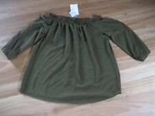 LADIES CUTE DARK GREEN WOVEN POLYESTER 3/4 SLEEVE TOP BY TEMT - SIZE 12 NWT