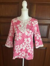 ALFRED DUNNER Cotton Textured Floral Top 3/4 Sleeve Lace Trim Women's Size 10
