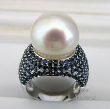 HS Gem Quality 15.35mm South Sea Cultured Pearl & Sapphire 5.638ctw Ring 18KWG