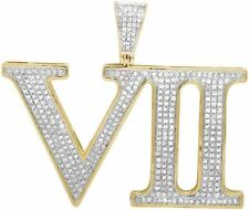 Mens 10K Yellow Gold Real Diamond Roman Numeral VII Pendant Charm 1 1/10 Ct 1.7""
