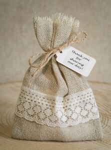 Rustic Hessian & Lace Vintage Wedding Favour Bags Personalised Shabby Chic 1-100
