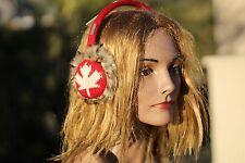 ADULT Red Canada Leaf  EARMUFFS ear muffs ear warmers  ice hockey leaves gear