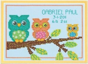 """DIMENSIONS OWL FAMILY BIRTH RECORD BABY SAMPLER COUNTED CROSS STITCH KIT 5"""" X 7"""""""