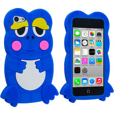 For Apple iPhone 5C Cute Frog Case Silicone Rubber Skin Soft Cover Blue