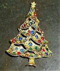 VTG JJ JONETTE LAYERED CHRISTMAS TREE PIN BROOCH MULTI COLOR RHINESTONES 2.5'