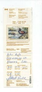 Canada Duck stamp CN17 used on hunting permit