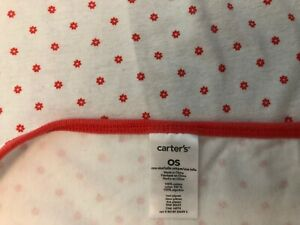 Carters Girls Coral White Baby Blanket Tiny Flowers Pink Cotton Stretch Knit