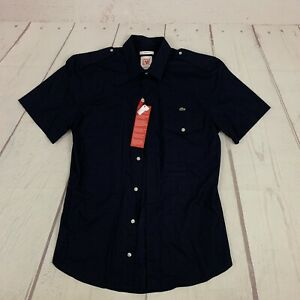 NWT Lacoste Live Dark Navy Blue Long Sleeve Skinny Fit Size 38 Small Military