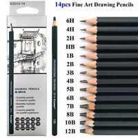 14x Beginner's Sketch Drawing Pencil 6H 4H 2H HB b 2B 3B 4 B 5B 6B 7B 8B X8S8