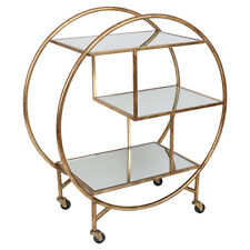Gold Bar Drink Trolley finished in Antique Gold with Mirror Shelves AVAIL 18JUNE