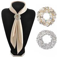 Crystal Pearl Silk Scarf Ring Clip Buckle Holder Brooch Scarf G6S