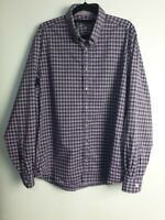 Jeff Banks London Men's Long Sleeve Shirt - Purple Check - Size L