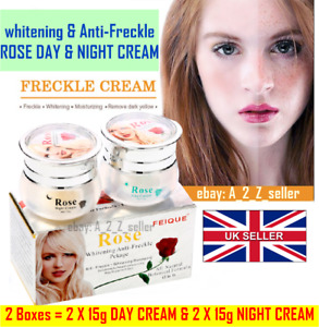 🇬🇧 2 X **New Rose Skin lightening dark spot Day and Night Freckle Face cream
