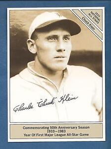 """CHUCK KLEIN, Phillies 1933 Conlon All-Star GIANTsize 4.5""""x 6"""" (1983 Marketcom)"""