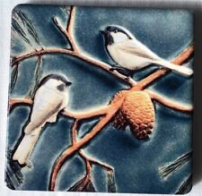 Set of 4 Mosaic Ceramic Coasters  Birds  print