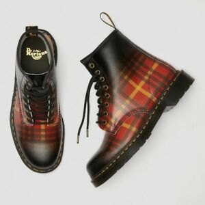 NEW Dr Martens 1460 Mcmarten Tartan Leather Boots Unisex Red Plaid Leather 11