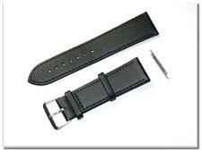 echt Leder Uhrenarmband schwarz/silber, seidenmatt, 22mm breit, 2mm dick (8500)
