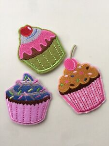 Set Of 3 Cupcakes Iron/ Sew On Embroidered Patch Appliqués Badge