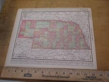 1898 Map State Map of Nebraska with Kansas on Reverse - Colored Counties