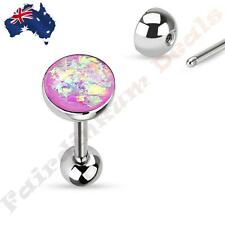 316L Surgical Steel Tongue Ring Barbell With Purple Sparkle Opal