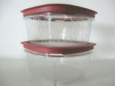 Two 5 Cup Rubbermaid Premier Stain Resistant Food Storage Containers Red Lids