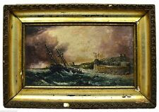 "Antique SIGNED FRAMED OIL PAINTING ""S. Proutis, 1823"" OMINOUS SHIPWRECK Nautical"