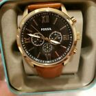 Fossil Flynn Mens Multifunction Brown Leather Black Dial Watch BQ2261 NEW