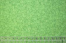 By the 1/2 yard 100% cotton fabric Lime Green Garden curls swirls home decor