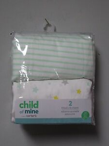 Carter's Child Of Mine 2-Pack Fitted Crib Sheets Green Stripes/Stars BABY SHOWER