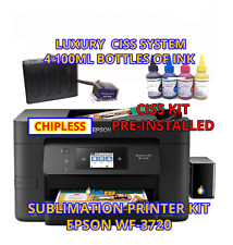 Epson WF-3720 Sublimation Printer Bundle with CISS Kit, Sublimation Ink