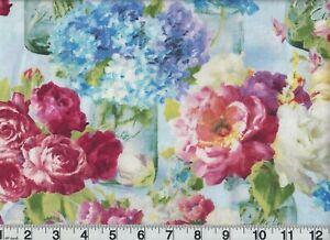 Flower Market Fabric #89208 434 Flowers Jars OOP Quilt Shop Quality Cotton