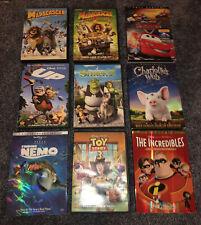 Lot Of 9 Dvds Disney Dreamworks Pixar Nemo Toy Story Incredibles Shrek 2 Up