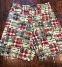 T Harris London Madras Plaid Shorts Red Green Blue White Yellow 32