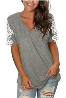 Sieanear Women's Lace Short Sleeve V-Neck T-Shirt, 1-light Grey, Size Small gXaB