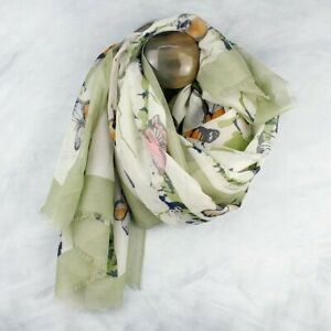 Green and Ivory Butterfly Scarf