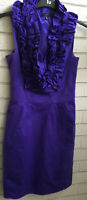 TED BAKER PURPLE WIGGLE DRESS RUFFLED NECKLINE SIZE 2