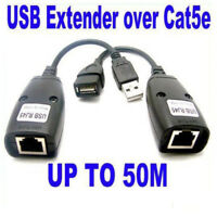 Extender Ethernet CAT5e Cable Up to 50M 150FT Extension Over Single RJ45 USB UTP