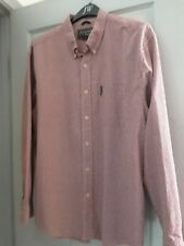 Abercrombie & Fitch Dress Shirt L Mens Burgundy Red Cotton checks Long Sleeve