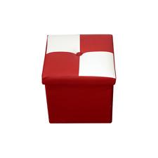 Mobili Rebecca Puff Sgabello baule Bianco Rosso Cubo Design arredo moderno