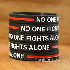 1 No One Fights Alone Thin Red Line Silicone Wristband Bracelet for Firefighters