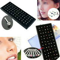 60/24Pcs Stainless Steel Crystal Rhinestone Nose Ring Stud Body Piercing Jewelry