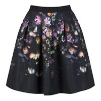 Ted Baker 2 Womens Deniva Shadow Floral Full Skirt Mid Grey USA 6 Size 14.5 x