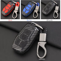 Carbon Fiber Shell+Silicone Cover Remote Key Holder Fob Case For Ford Mustang