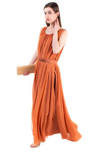 RRP €720 MAX MARA Silk Maxi Overlay Dress Size 46 / L Belted Made in Italy