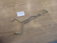 QUALITY ANTIQUE STERLING SILVER DOUBLE ALBERT POCKET WATCH CHAIN