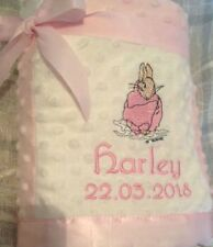 PERSONALISED BABY BLANKET BEATRIX POTTER FLOPSY or Jemima puddleduck  PINK/CREAM