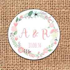 Wedding favour 24 stickers save the date personalised  floral shabby chic